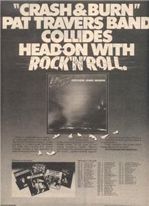 1980 PAT TRAVERS BAND CRASH & BURN POSTER TYPE TOUR AD
