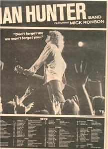 1980 IAN HUNTER BAND TOUR DATE POSTER TYPE AD
