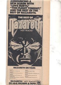 1977 NAZARETH HOT TRACKS TOUR PROMO AD
