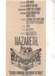 1976 NAZARETH CLOSE ENOUGH FOR ROCK AND ROLL PROMO AD