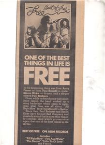1975 FREE PAUL RODGERS BAD COMPANY PROMO AD