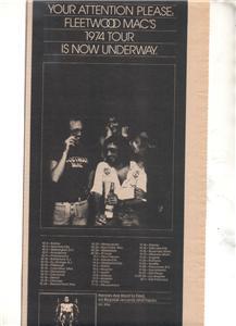 1974 FLEETWOOD MAC CONCERT TOUR PROMO AD