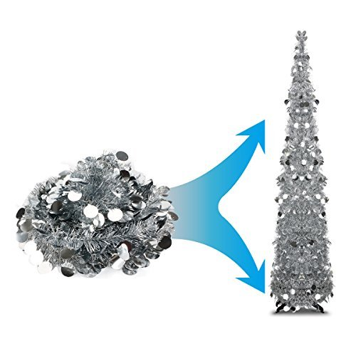Collapsible Artificial Christmas Trees: 5 Foot Silver Pop-up Collapsible Tinsel Pencil Christmas