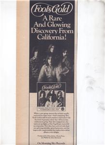 1976 FOOLS GOLD FOOLSGOLD POSTER TYPE AD