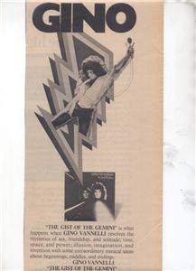 1976 GINO VANNELLI POSTER TYPE AD
