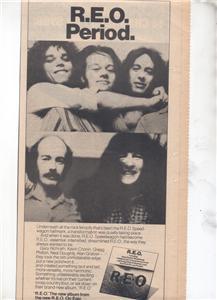 1976 REO SPEEDWAGON POSTER TYPE AD