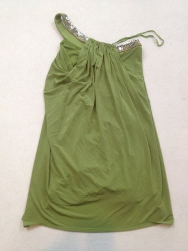 BCBG Dress Womens Size 0 Green Sequins Beads One Shoulder