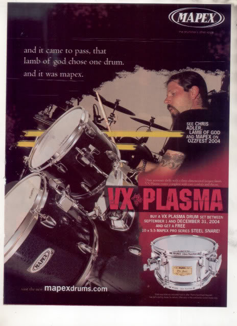 * CHRIS ADLER LAMB OF GOD VX PLASMA DRUM AD