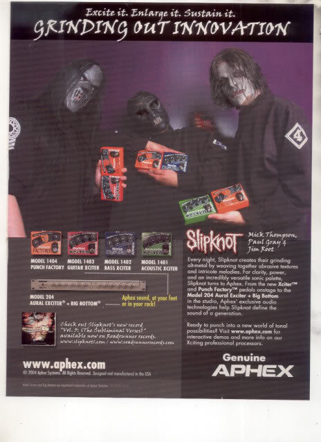 * SLIPKNOT SLIP KNOT APHEX AD