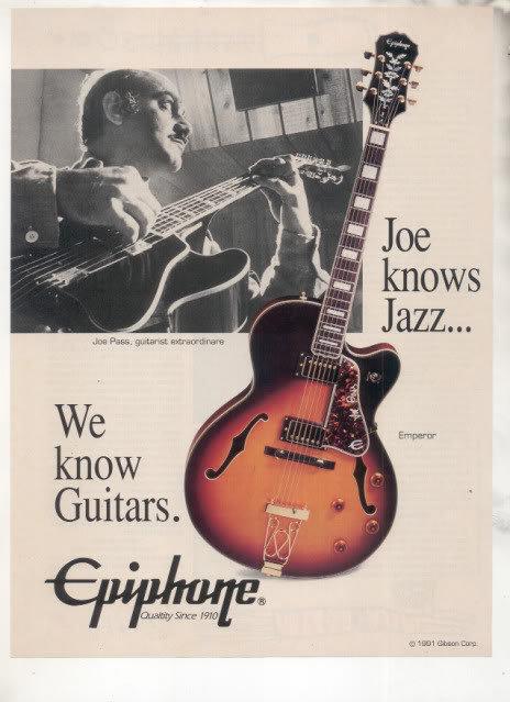 * 1993 JOE PASS EPIPHONE EMPEROR GUITAR AD