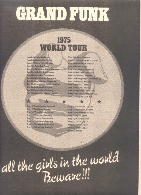 1975 GRAND FUNK WORLD TOUR POSTER TYPE TOUR AD