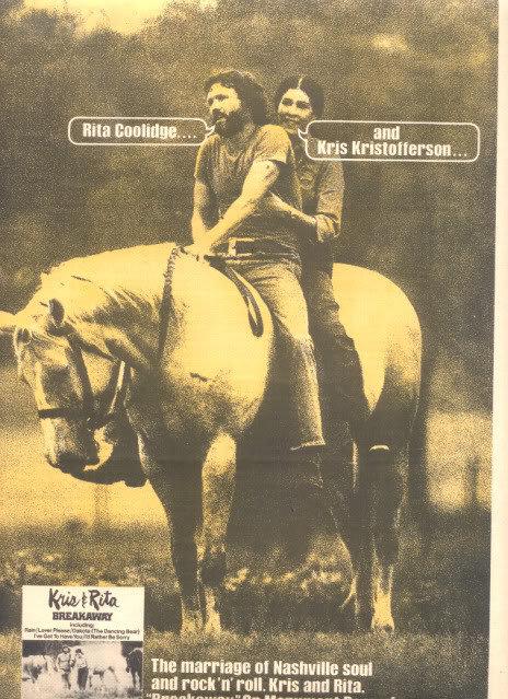 1975 KRIS KRISTOFFERSON RITA COOLIDGE POSTER TYPE AD