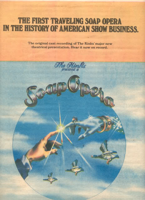 1975 THE KINKS SOAP OPERA POSTER TYPE AD