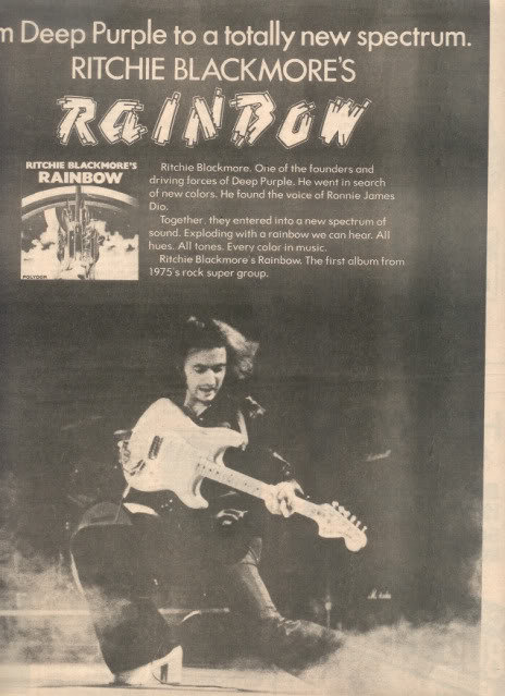 1975 RITCHIE BLACKMORE RAINBOW POSTER TYPE AD