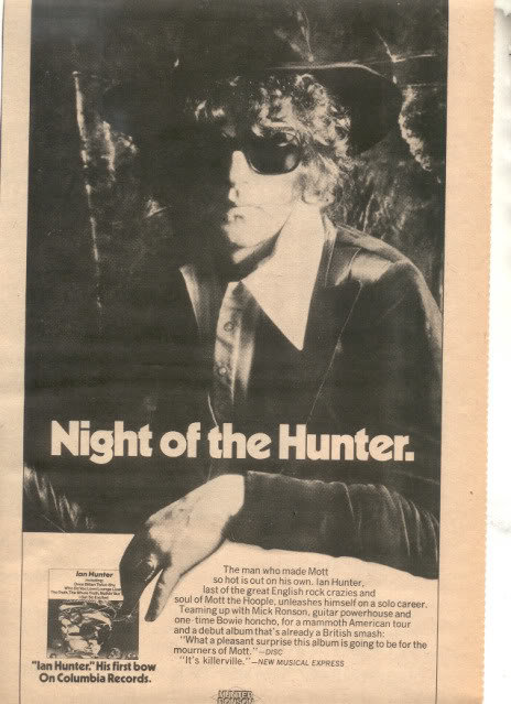 1975 IAN HUNTER NIGHT OF THE HUNTER TOUR AD