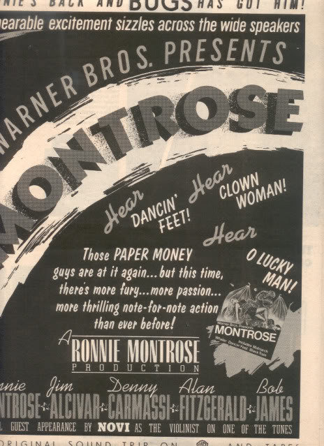 1975 RONNIE MONTROSE POSTER TYPE AD