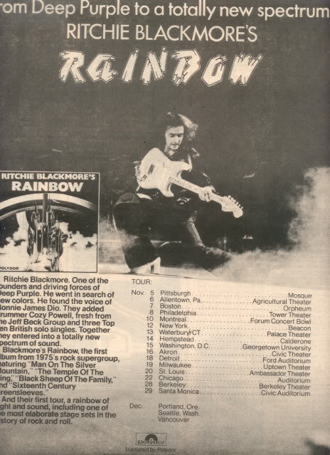 1975 RITCHIE BLACKMORE RAINBOW POSTER TYPE TOUR AD