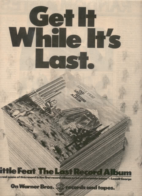 1975 LITTLE FEAT THE LAST RECORD ALBUM POSTER TYPE AD