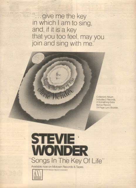 1976 STEVIE WONDER SONGS IN THE KEY OF POSTER TYPE AD