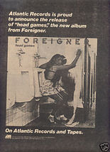 1979 FOREIGNER HEAD GAMES POSTER TYPE AD - $8.99