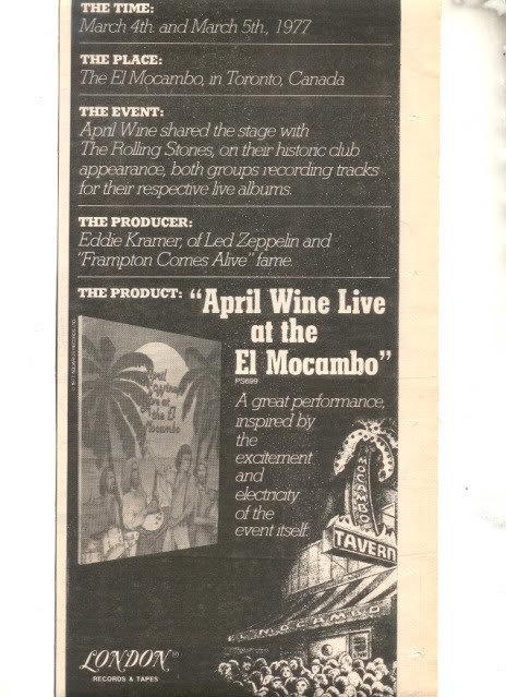 1977 APRIL WINE LIVE AT THE EL MOCAMBO CONCERT PROMO AD