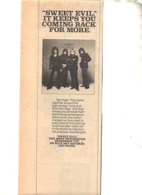 1977 RICK DERRINGER SWEET EVIL PROMO AD