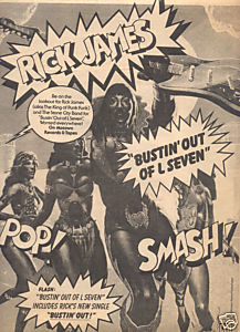1979 RICK JAMES BUSTIN OUT OF L SEVEN PROMO AD