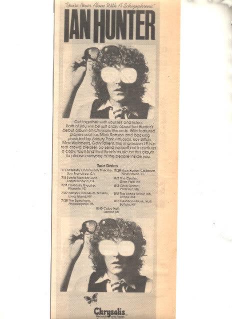 1979 IAN HUNTER TOUR PROMO AD