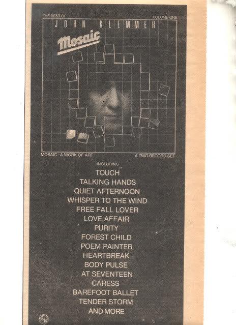 1979 JOHN KLEMMER MOSIAC PROMO AD