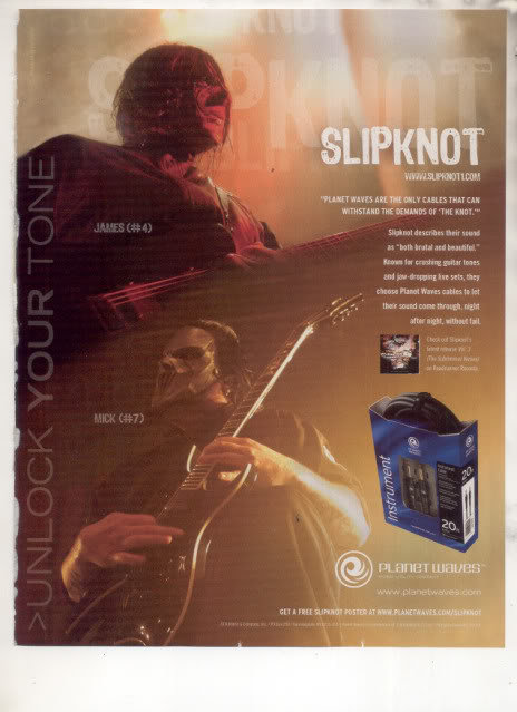 * SLIPKNOT MICK JAMES PLANET WAVES CABLES AD