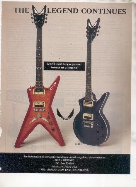 * 1993 DEAN ELITE ML GUITAR AD