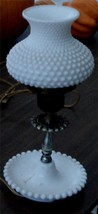 Nice Vintage Milk Glass Candlewick Desk Lamp, Milk Glass Hobnail Shade VGC - $39.59