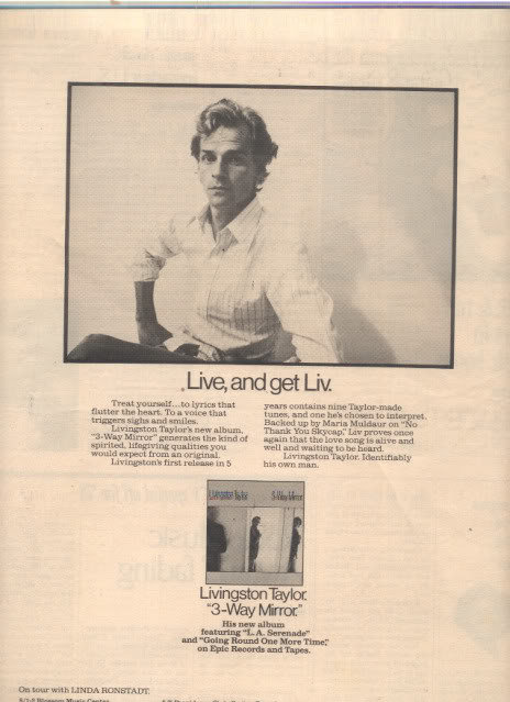 * 1978 LIVINGSTON TAYLOR POSTER TYPE TOUR AD