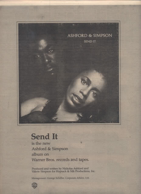 * 1977 ASHFORD AND SIMPSON SEND IT POSTER TYPE AD
