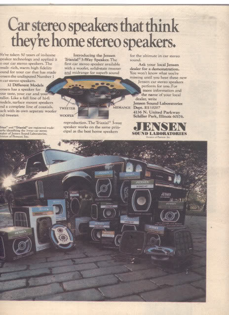 * 1977 JENSEN CAR SPEAKERS FULL LINE POSTER TYPE AD