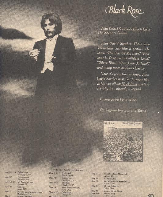 * 1976 JOHN DAVID SOUTHER POSTER TYPE TOUR AD