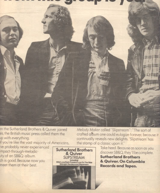 * 1976 SUTHERLAND BROTHERS & QUIVER POSTER TYPE AD