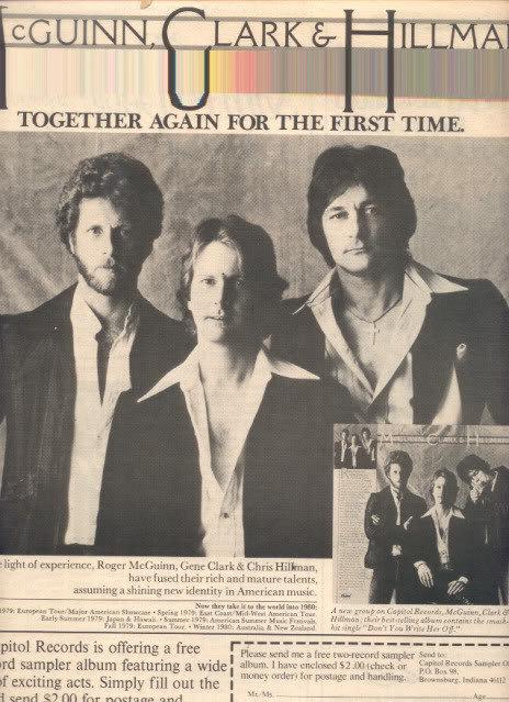 * 1979 MCGUINN,CLARK & HILLMAN POSTER TYPE AD