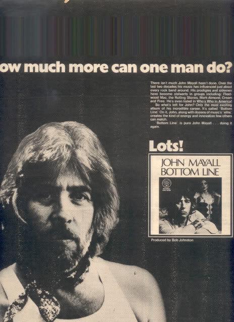 * 1979 JOHN MAYALL BOTTOM LINE POSTER TYPE AD