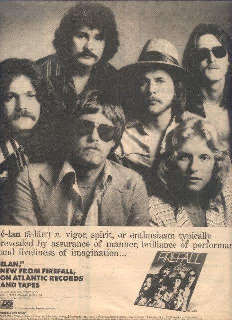 * 1978 FIREFALL ELAN POSTER TYPE AD