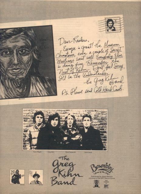 * 1978 THE GREG KIHN BAND POSTER AD