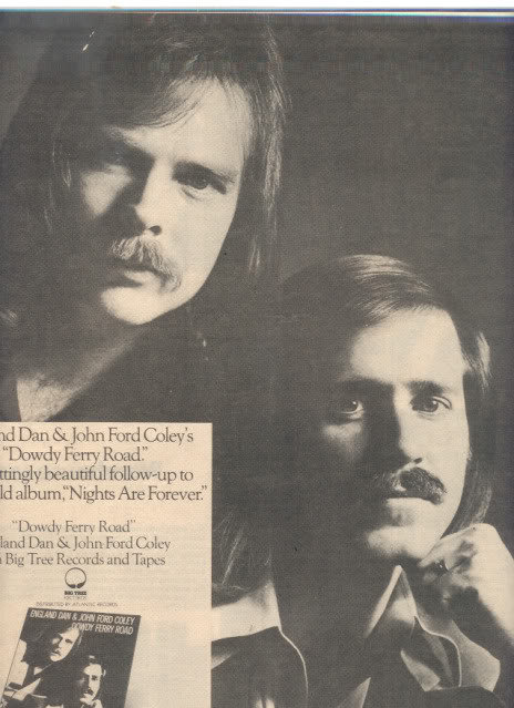 * 1977 ENGLAND DAN & JOHN FORD COLEY POSTER TYPE AD