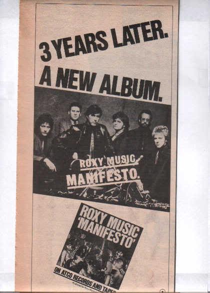 * 1979 ROXY MUSIC MANIFESTO PROMO PRINT AD