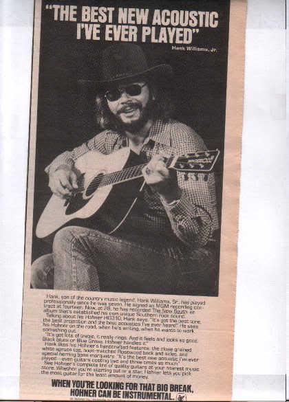 * 1978 HANK WILLIAMS JR PROMO PRINT PHOTO AD