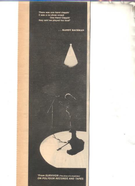 * 1978 RANDY BACHMAN PROMO PRINT PHOTO AD