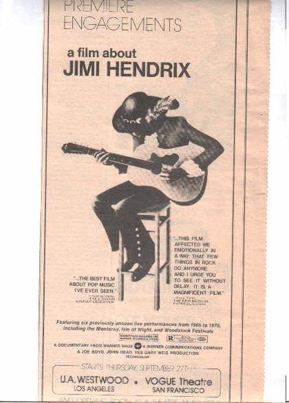 * 1973 JIMI HENDRIX PROMO PRINT PHOTO AD