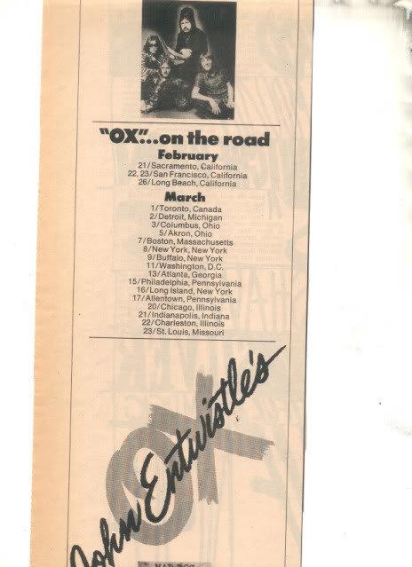 * 1975 JOHN ENTWISTLE OX MAD PROMO TOUR AD