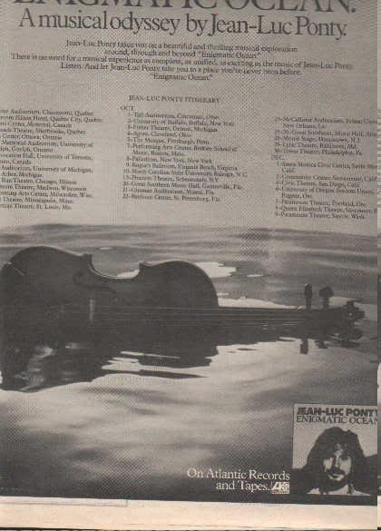 * 1977 JEAN LUC PONTY POSTER TYPE TOUR AD