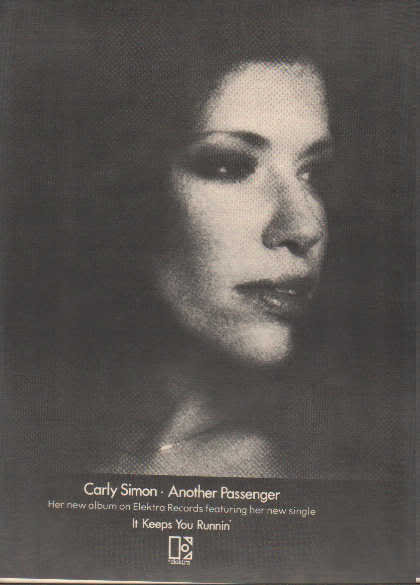 * 1976 CARLY SIMON ANOTHER PASSENGER POSTER TYPE AD