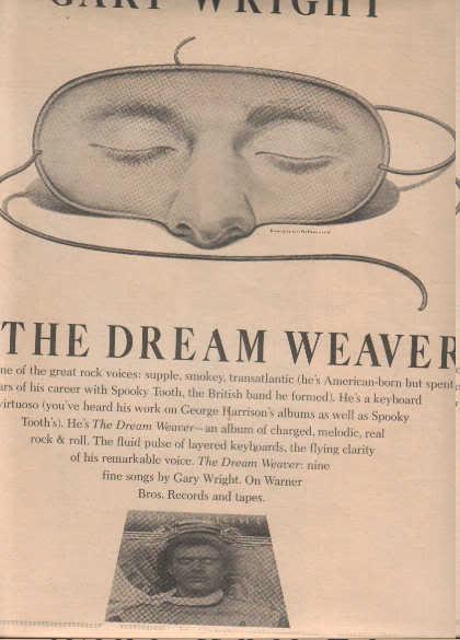 * 1975 GARY WRIGHT DREAM WEAVER POSTER TYPE AD